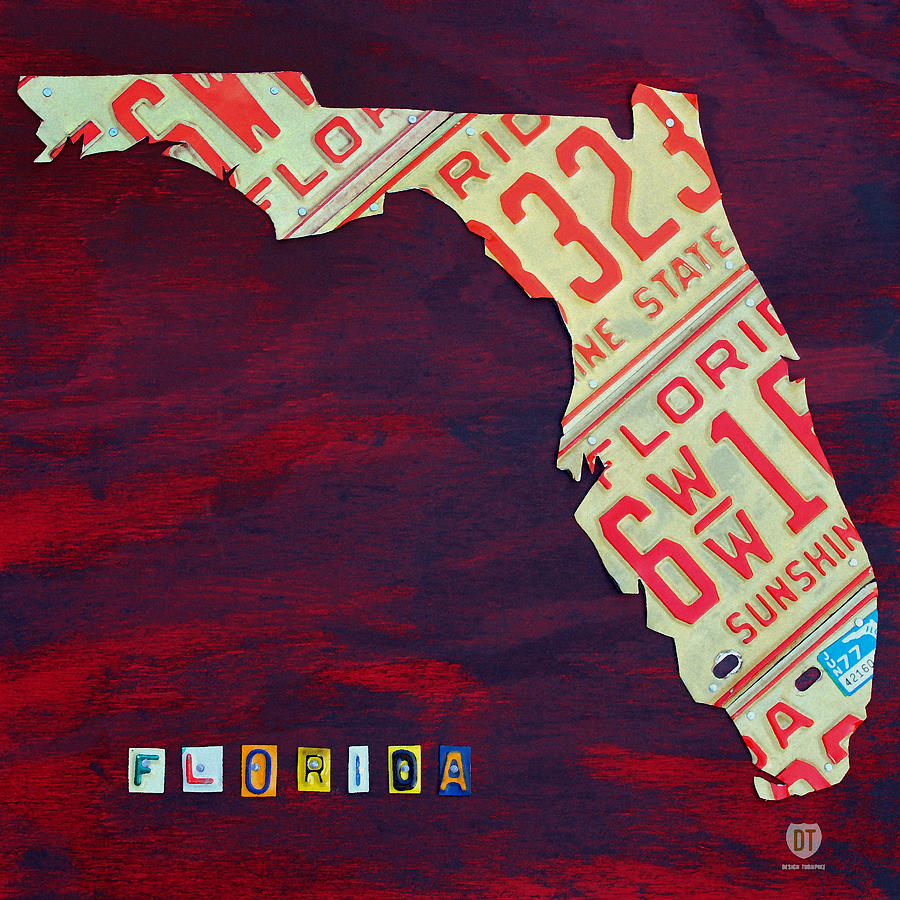 License Plate Map Mixed Media - License Plate Map Of Florida By Design Turnpike by Design Turnpike