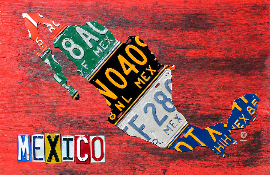 License Plate Map Of Mexico Recycled Car Tag Vintage Art On Red ...