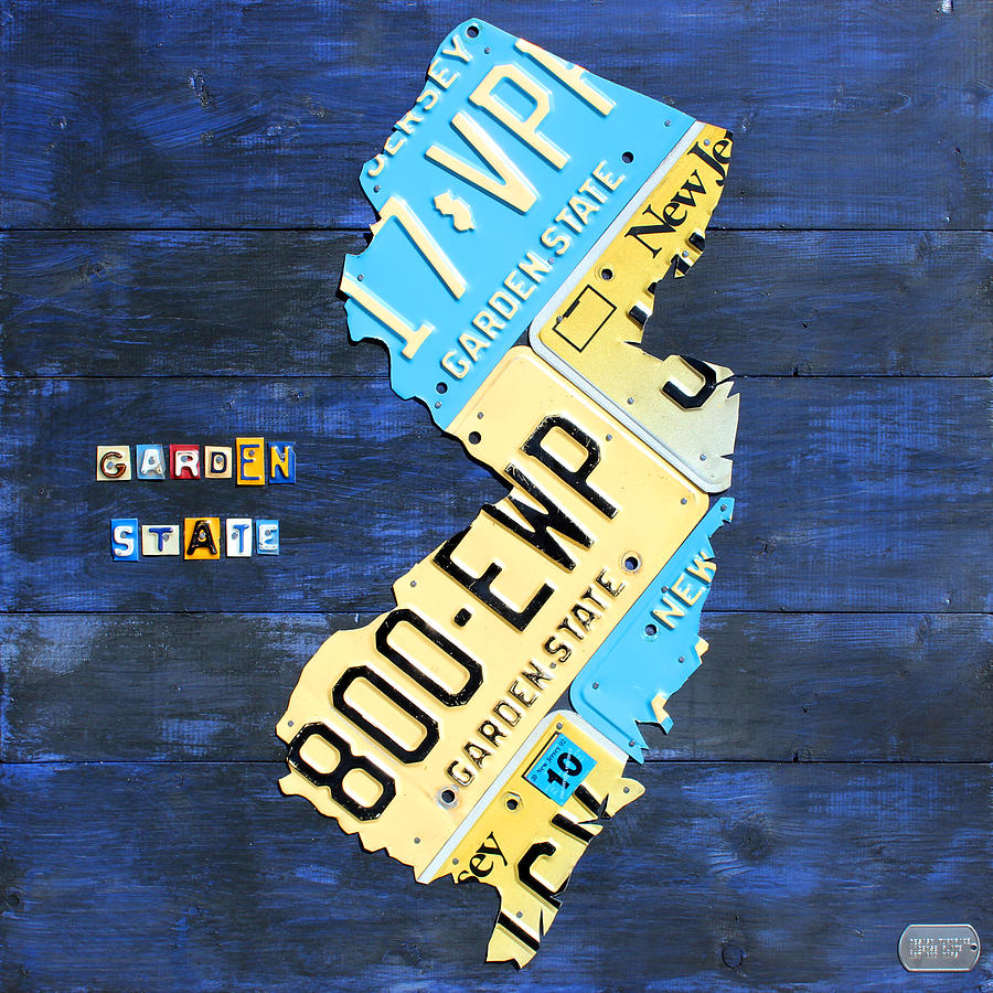 License Plate Map Of New Jersey V2 By Design Turnpike Mixed Media by Design Turnpike