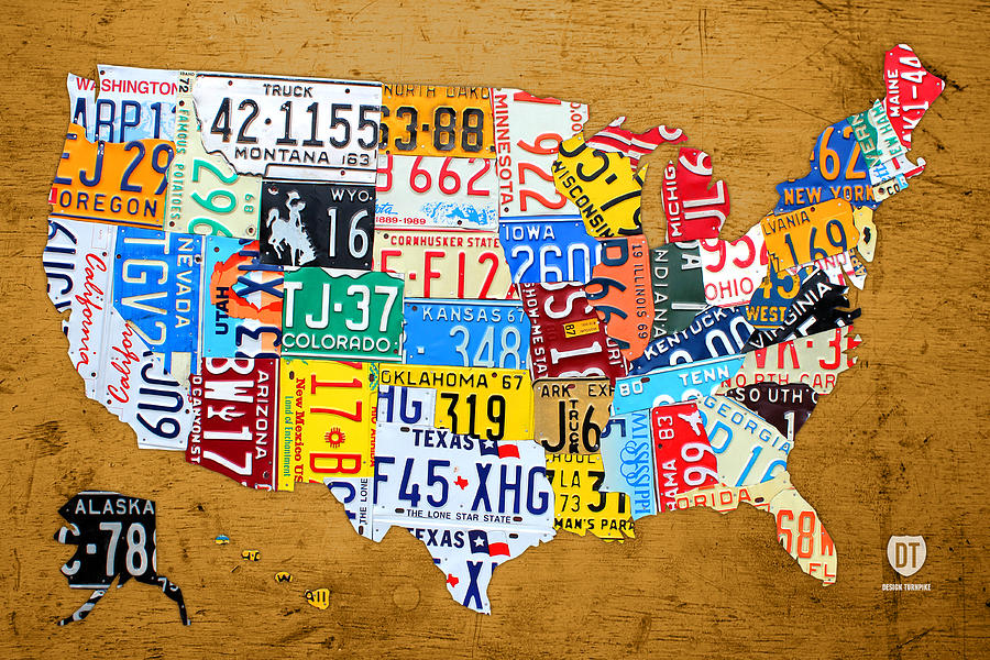 License Plate State Map.License Plate Map Of The United States On Burnt Orange Slab Mixed