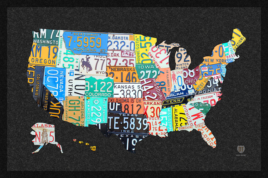 License Plate Map Of The United States On Gray Felt With Black Box - Framed us map