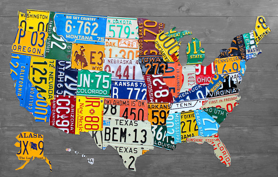 License Plate Map Mixed Media - License Plate Map of The United States on Gray Wood Boards by Design Turnpike