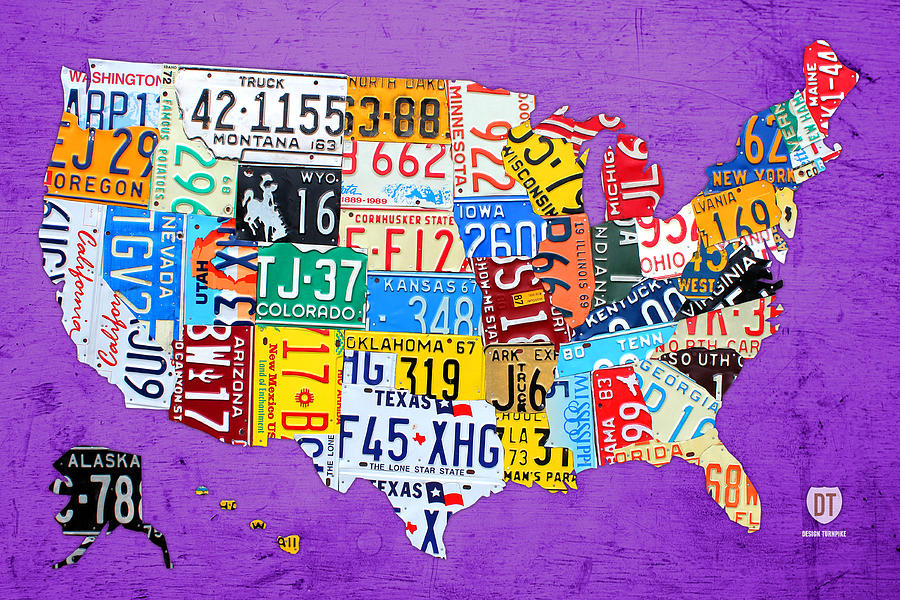 License Plate Map Mixed Media - License Plate Map Of The United States On Vibrant Purple Slab by Design Turnpike