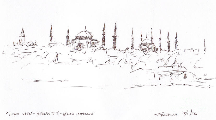 Crystal Cruises Drawing - Lido View Serenity Blue Mosque by Valerie Freeman