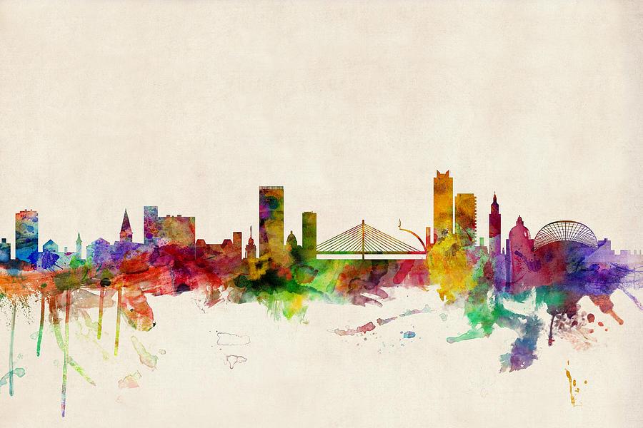 Liege Belgium Skyline Digital Art By Michael Tompsett