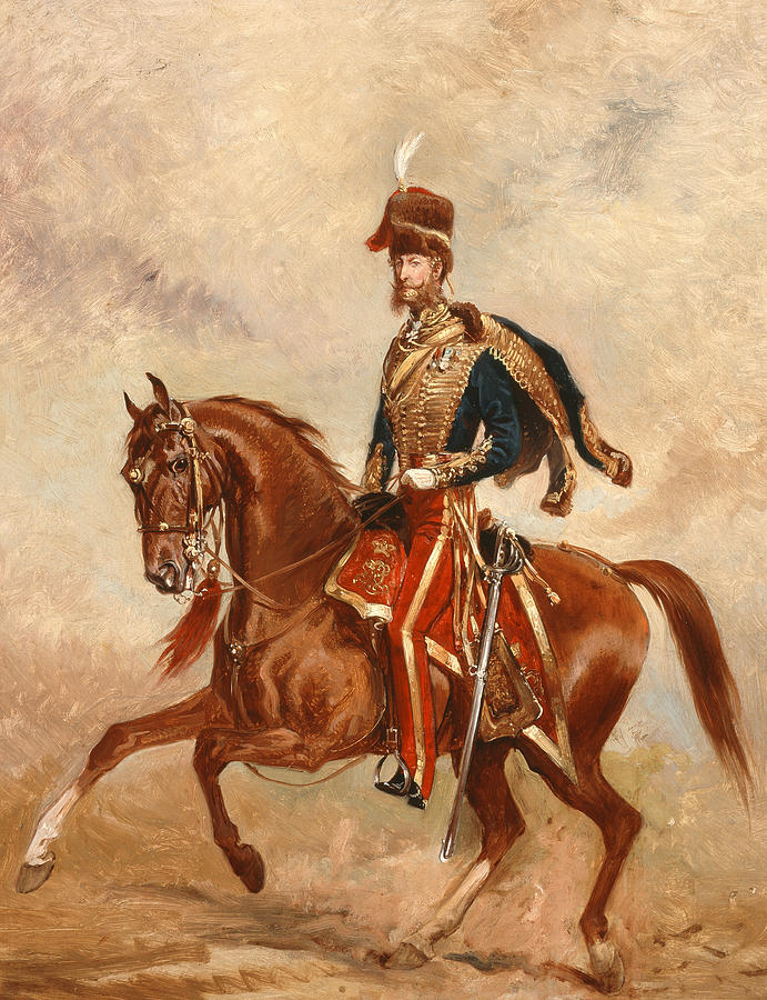 Horse Painting - Lieutenant Colonel James Thomas Brudenell  by Alfred de Prades