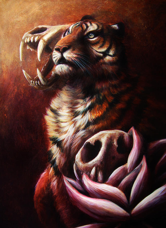 Tiger Painting - Life And Death And Life by Danielle Trudeau