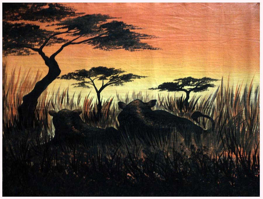 Land Scape Painting - Life In The Jungle  by Gibu John Joshua