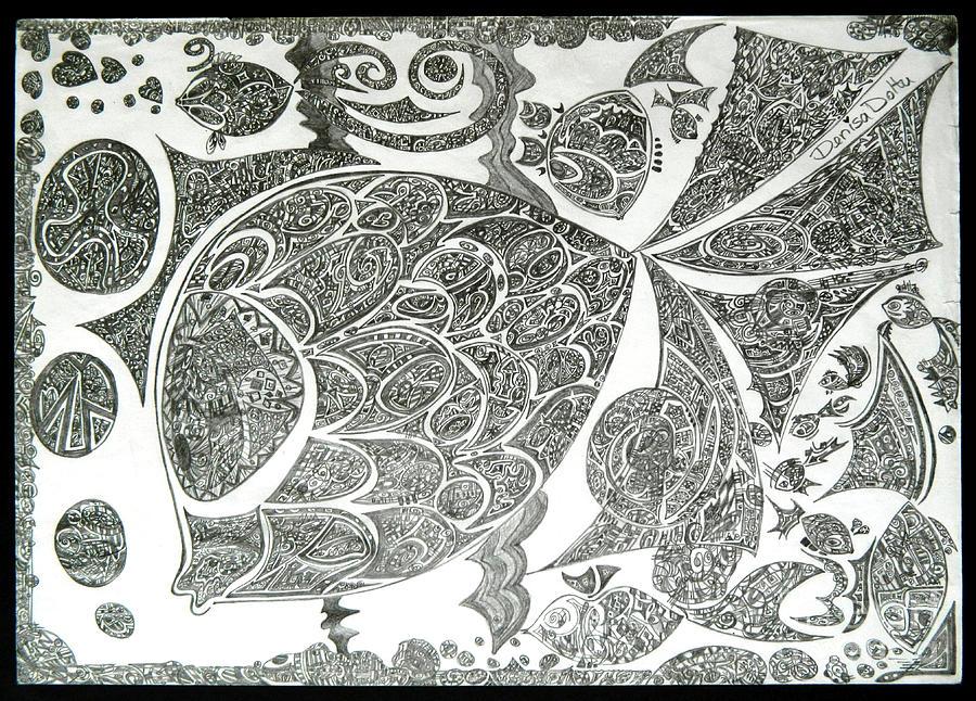 Original Drawing - Life In Water by Denisa Laura Doltu