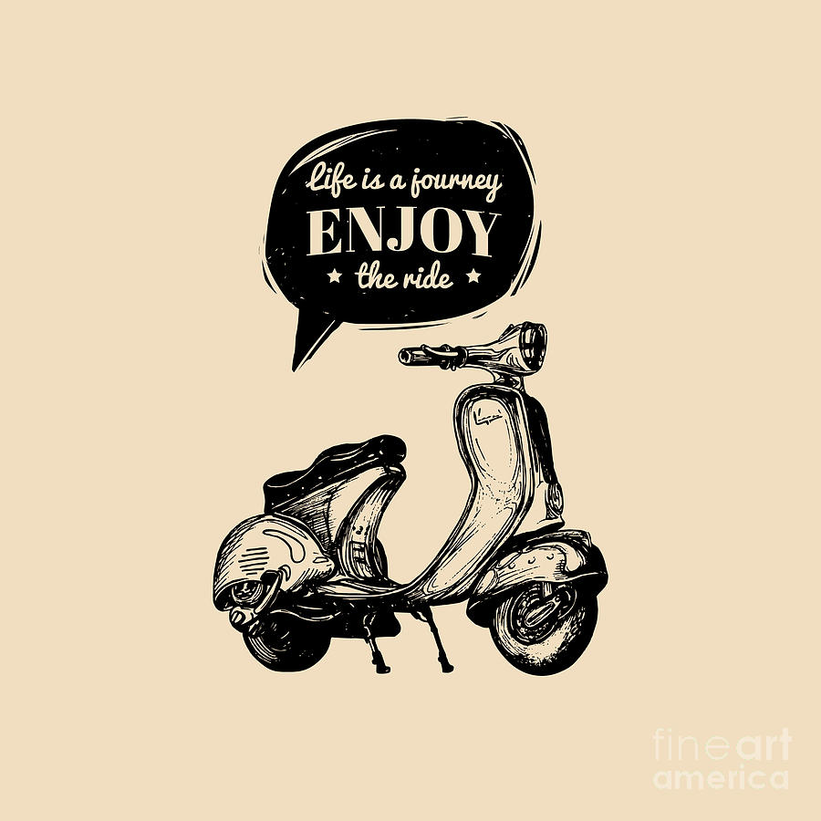 Typographic Digital Art - Life Is A Journey, Enjoy The Ride by Vlada Young