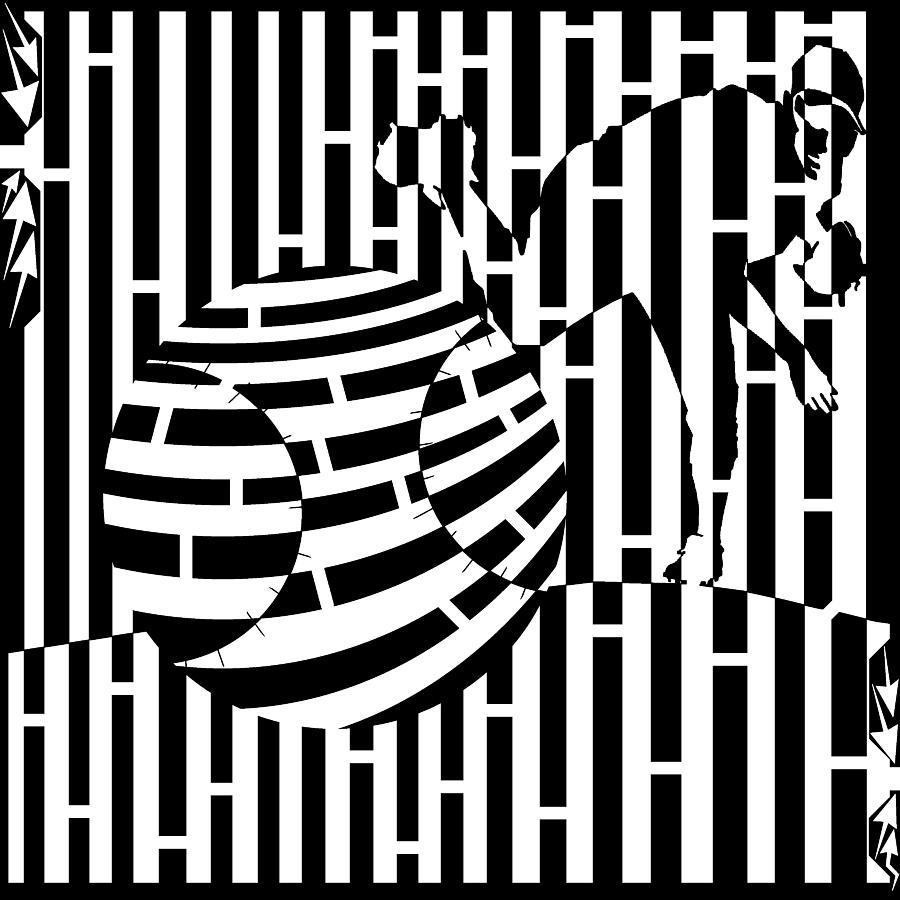 Pitch Drawing - Life Is A Pitch Maze by Yonatan Frimer Maze Artist