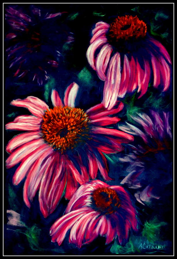 Pink Daisies Pastel - Life Is Too Short       Pastel by Antonia Citrino