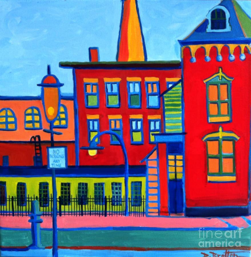 Landscape Painting - Life Revolving in the City Lowell MA by Debra Bretton Robinson