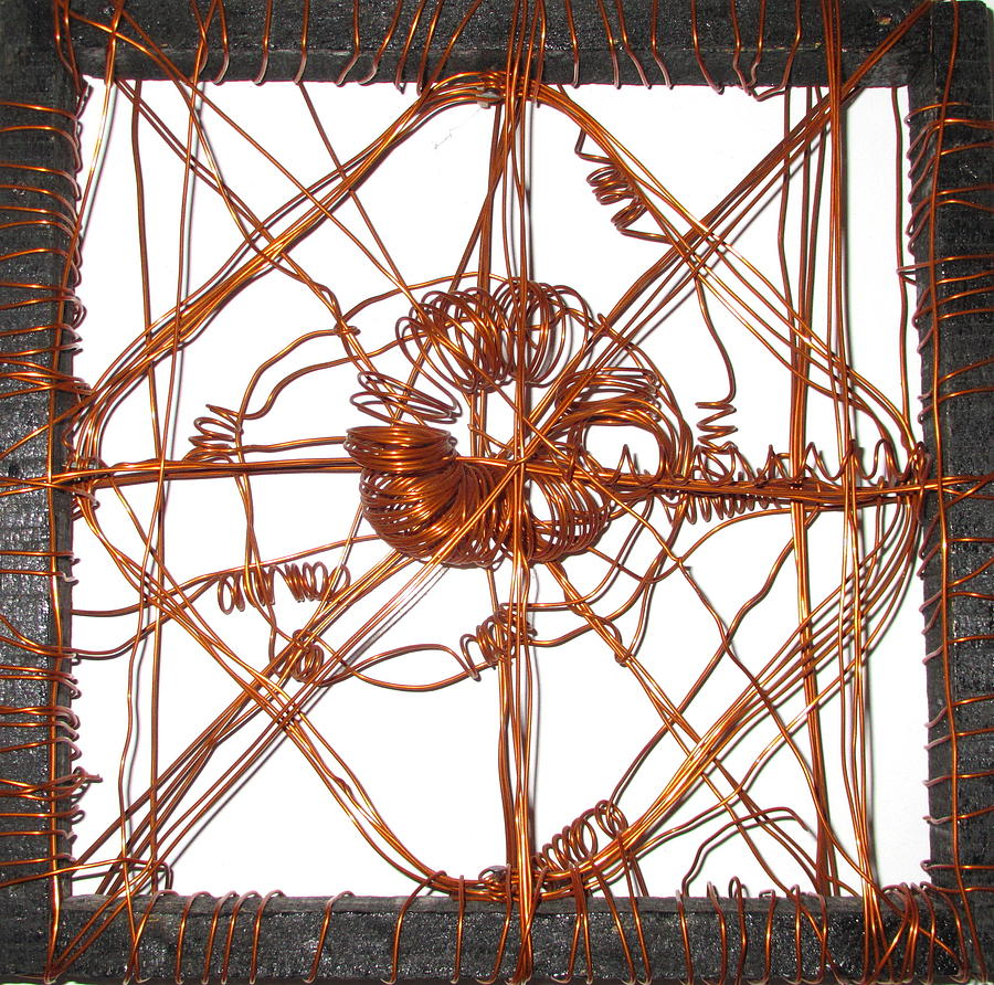Copper Square Sculpture - Life Tension by Raahi Raza