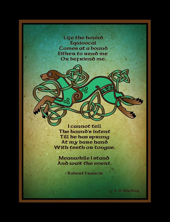 Hound Digital Art - Life the Hound by Celtic Artist Angela Dawn MacKay