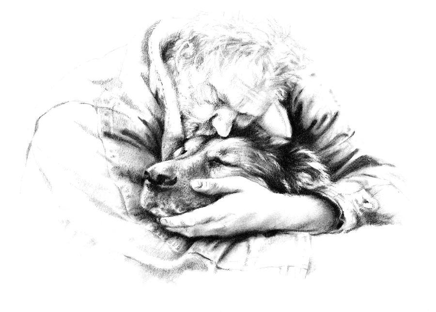 Dog Drawing - Life Together by Natasha Denger