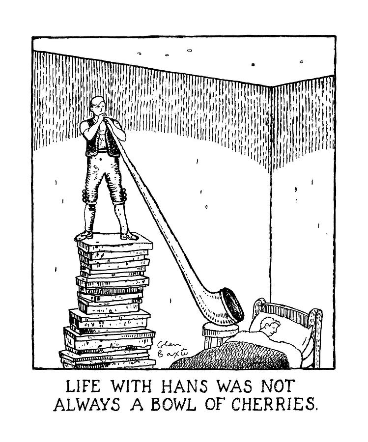 Life With Hans Was Not Always A Bowl Of Cherries Drawing by Glen Baxter