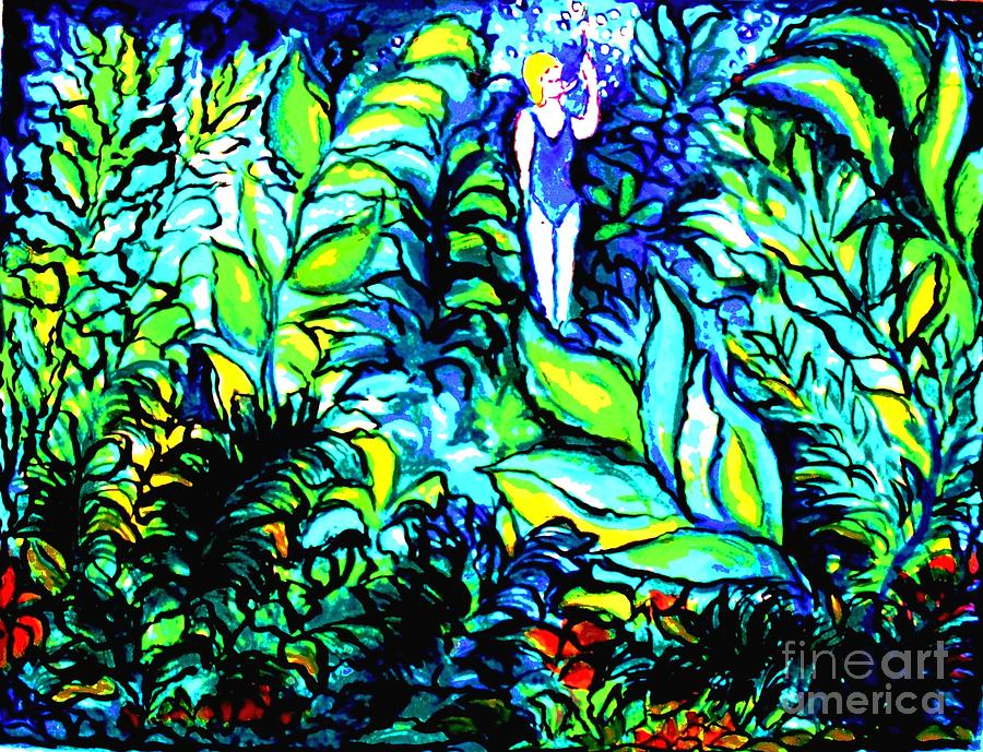 Fish Tank Painting - Life Without Filters by Hazel Holland