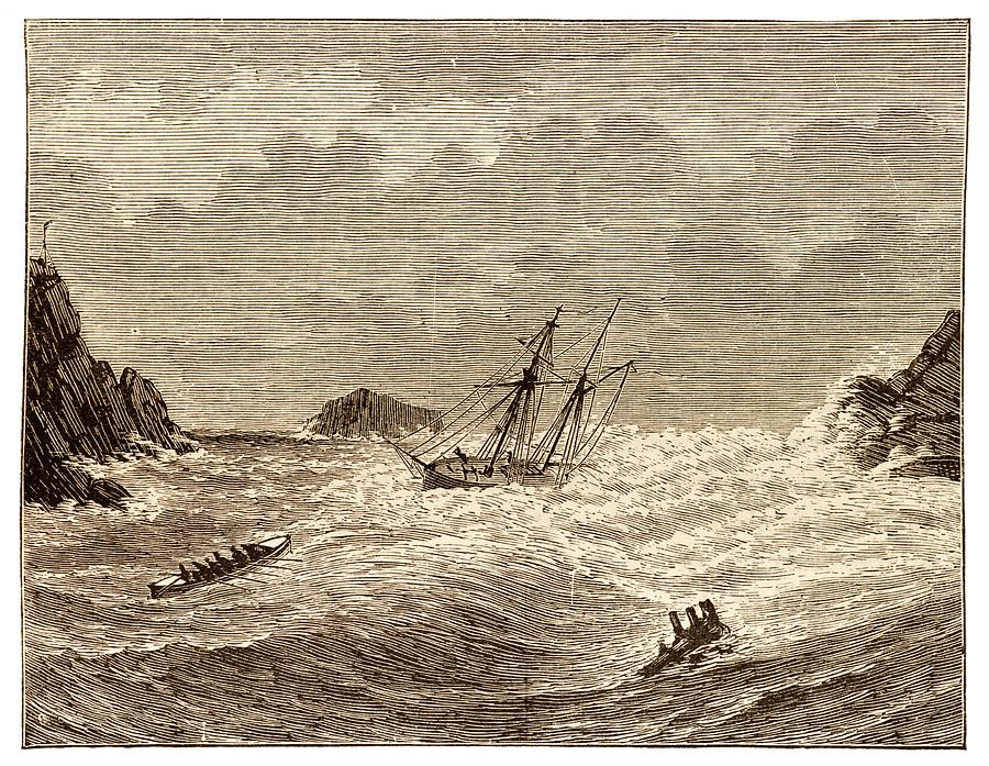Illustration Photograph - Lifeboat Approaching A Wreck by David Parker/science Photo Library