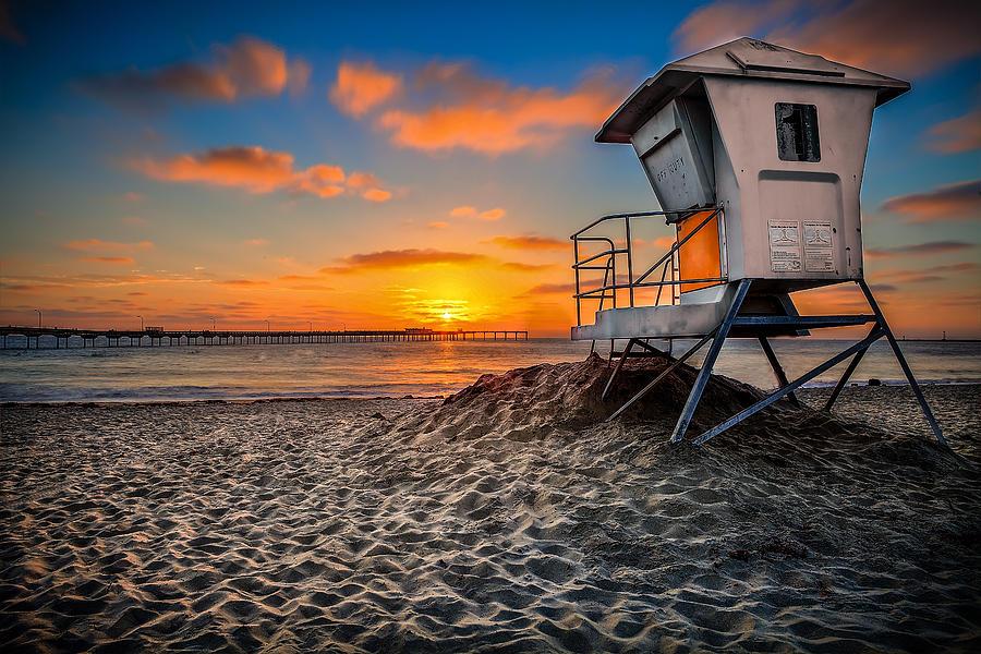 Lifeguard Photograph - Lifeguard Sunset by Robbie Snider