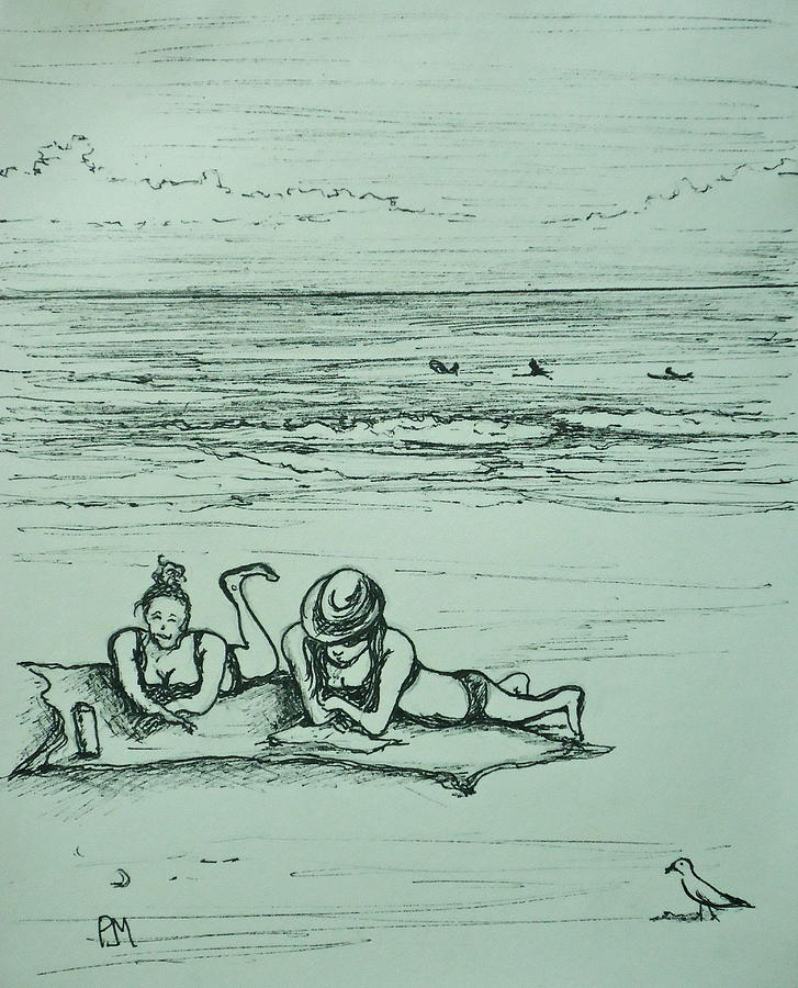 Beach Drawing - Lifes A Beach by Pete Maier