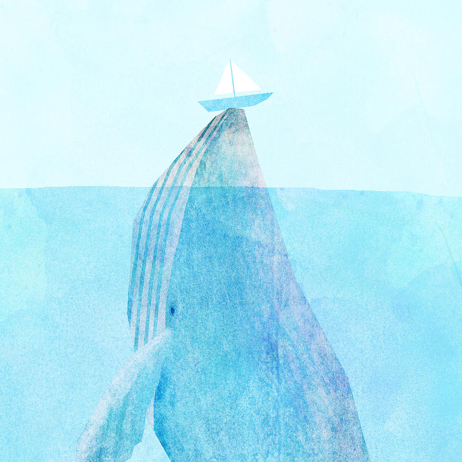 Whale Drawing - Lift by Eric Fan
