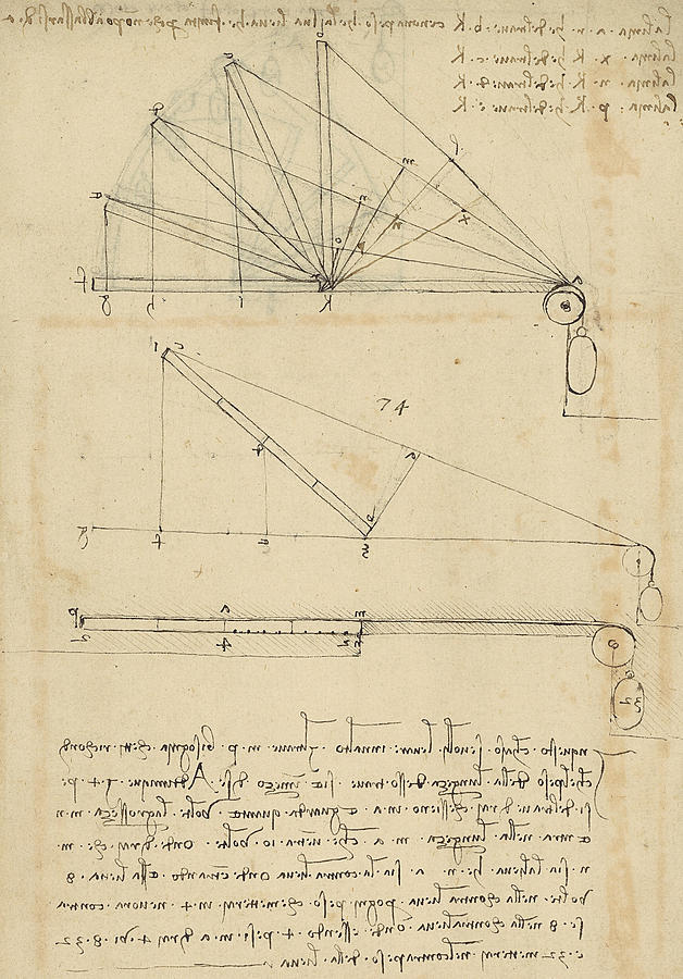 Leonardo Drawing - Lifting By Means Of Pulleys Of Beam With Extremity Fixed To Ground From Atlantic Codex by Leonardo Da Vinci