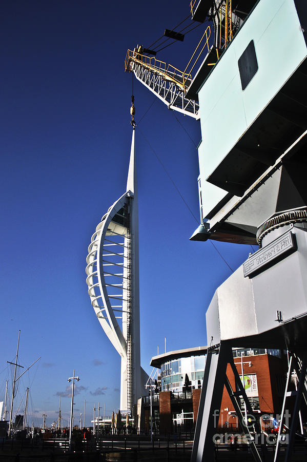 Spinnaker Tower Photograph - Lifting Portsmouths Spinnaker Tower by Terri Waters