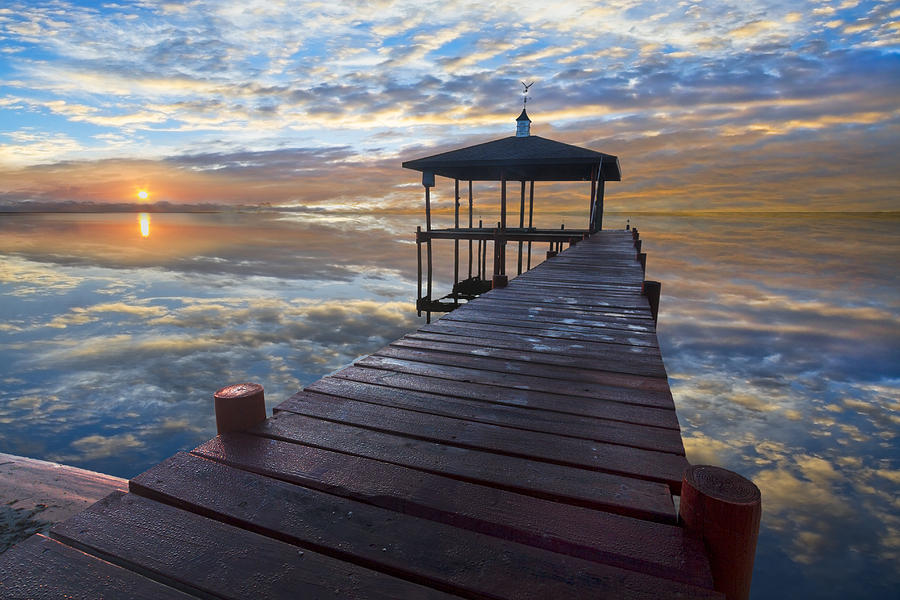 Clouds Photograph - Light At The Lake by Debra and Dave Vanderlaan