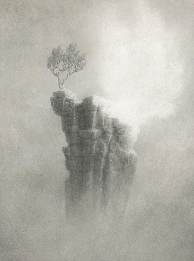 Lonely Tree Drawing - Light Be My Friend by Mark  Reep
