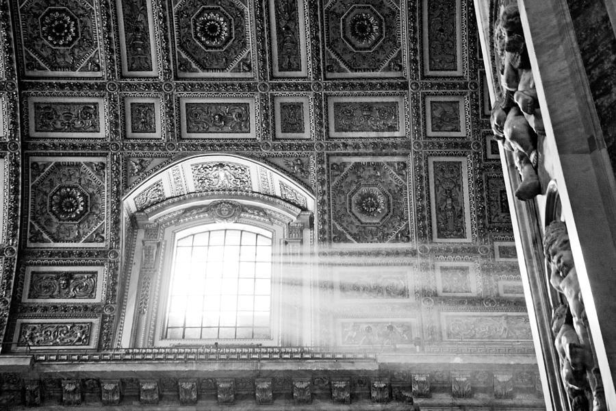 Light Photograph - Light Beams In St. Peters Basillica by Susan Schmitz