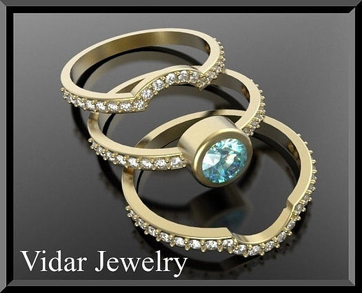 Gemstone Jewelry - Light Blue Aquamarine And Diamond 14k Yellow Gold Wedding Ring Set by Roi Avidar