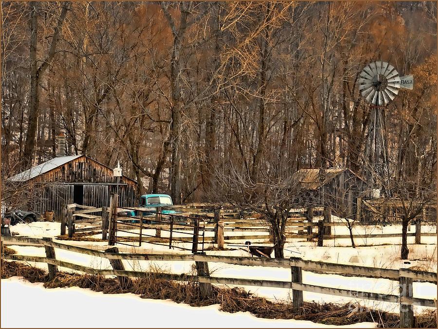 Farm Photograph - Light Blue Pickup by Jeff Breiman