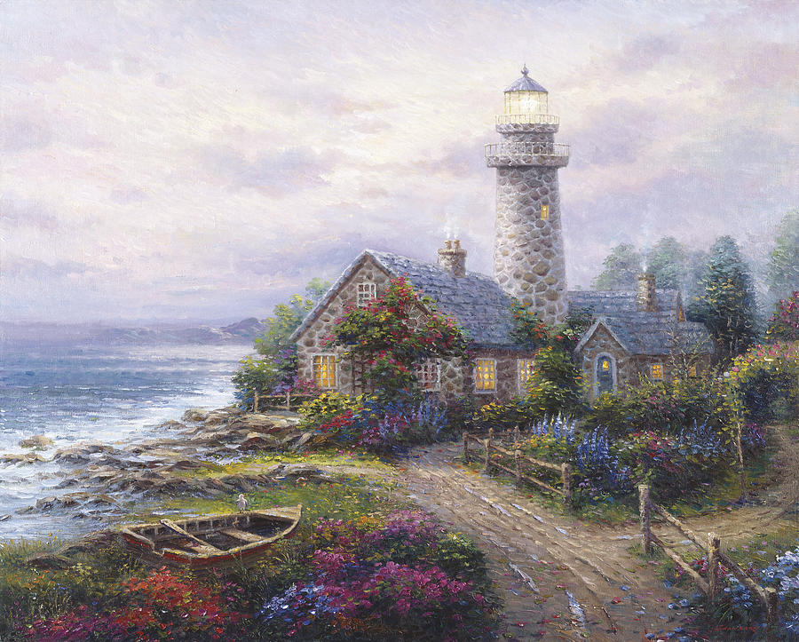 Woman Painting - Light House by Ghambaro