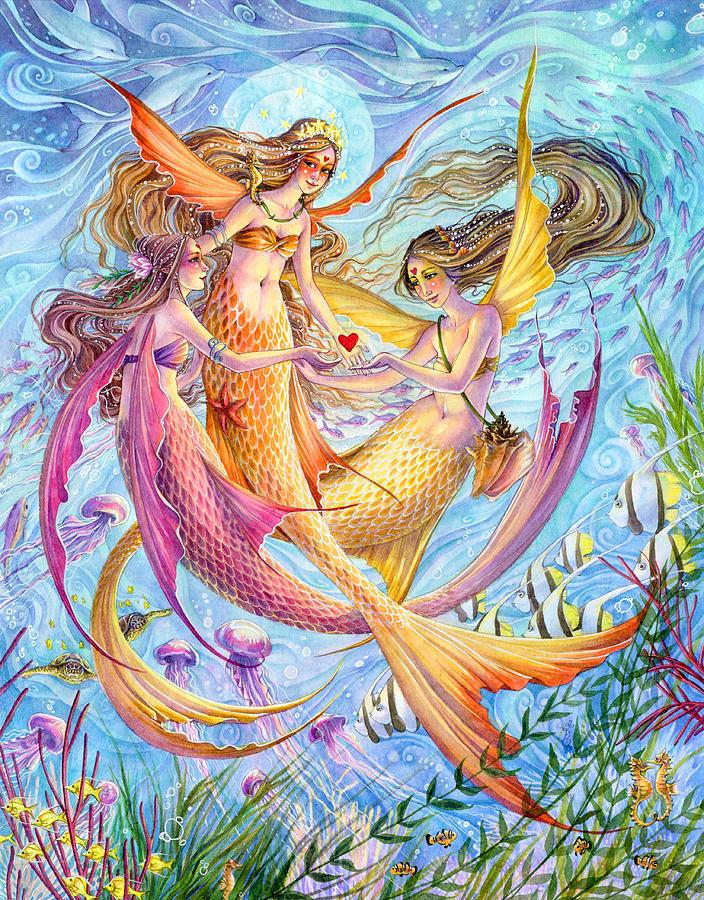 Mermaids Painting - Light Of Love by Sara Burrier