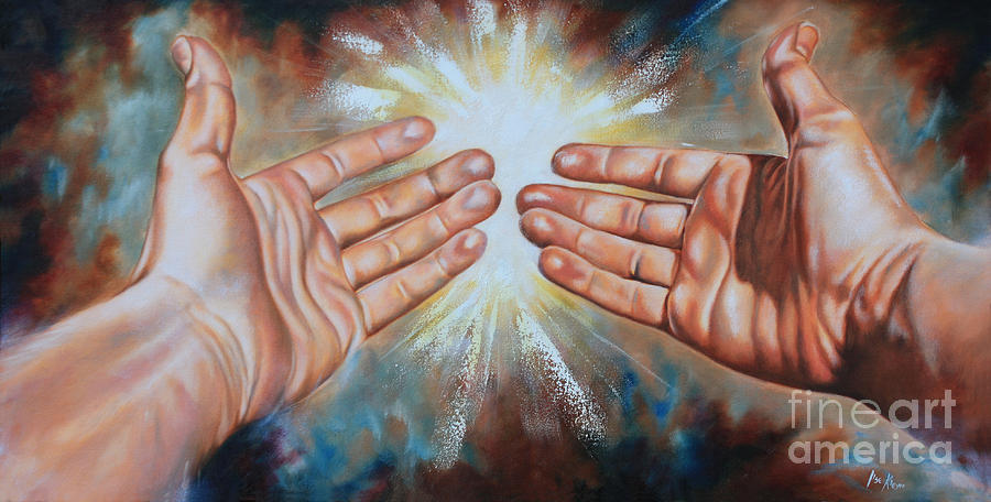 Hands Painting - Light Of This World by Ilse Kleyn