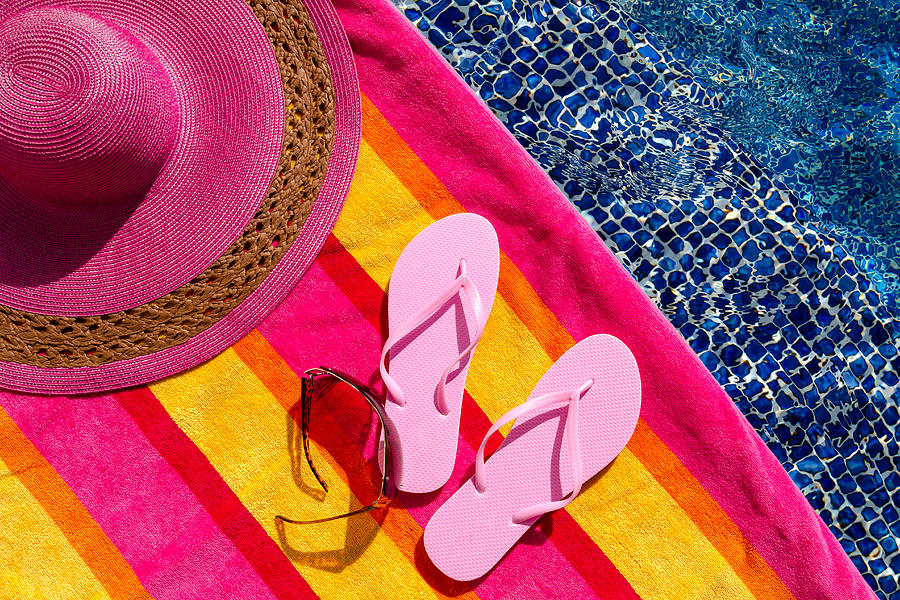 70f7d2c46b84 Water Photograph - Light Pink Flip Flops By The Pool by Teri Virbickis