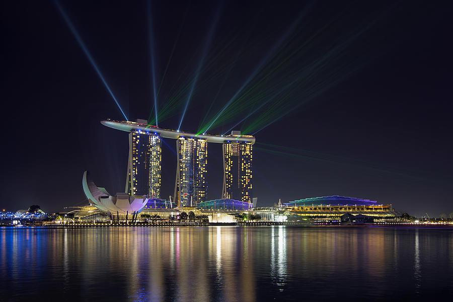 Singapore Photograph - Light Show At Marina Bay Sands Hotel And Casino II by David Gn
