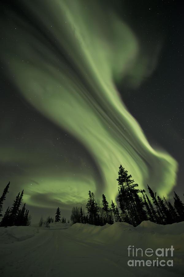 Aurora Borealis Photograph - Light Swirls Over The Midnight Dome by Priska Wettstein