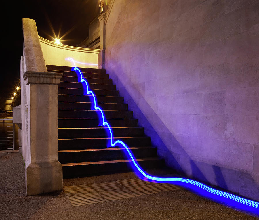 Light Trail On Steps Photograph by Tim Robberts