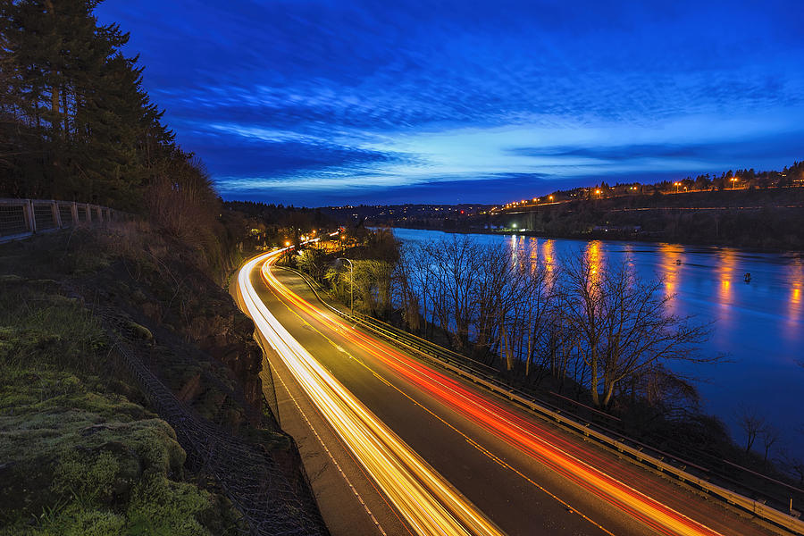 Highway Photograph - Light Trails On 99e by David Gn