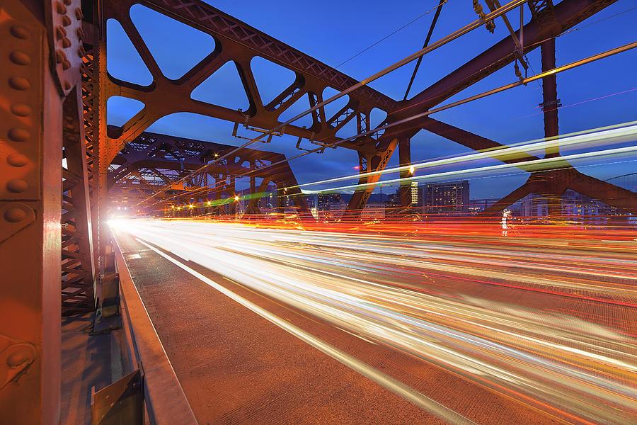 Cars Photograph - Light Trails On Broadway Bridge by David Gn
