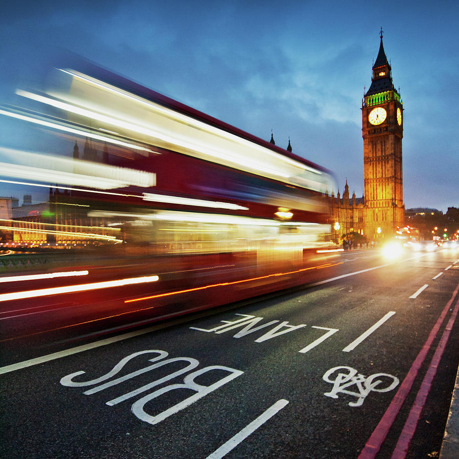 Light Trails On Westminster Bridge With Photograph by Ricardolr