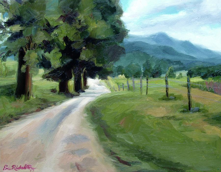 Cades Cove Painting - Lighted Path Of Cades Cove by Erin Rickelton