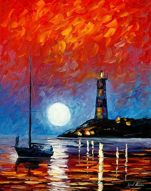 lighthouse 2 palette knife oil painting on canvas by