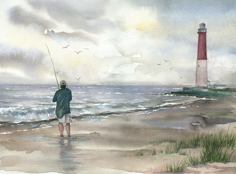 Landscape Painting - Lighthouse And Fisherman by Beth Kantor