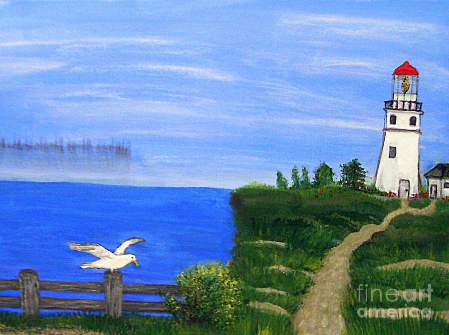 Lighthouse Painting - Lighthouse And Seagull  by Mindy Bench