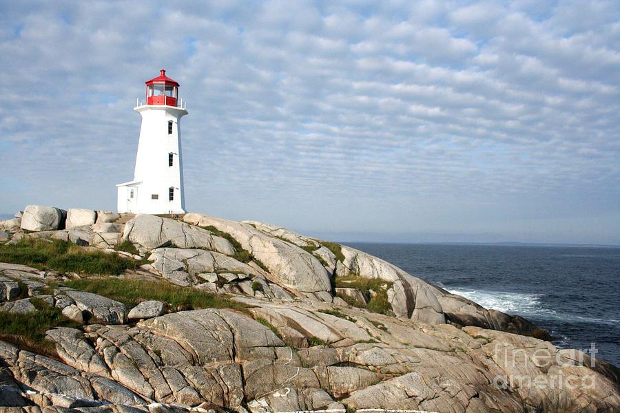 Lighthouse Photograph - Lighthouse At Peggys Point Nova Scotia by Thomas Marchessault