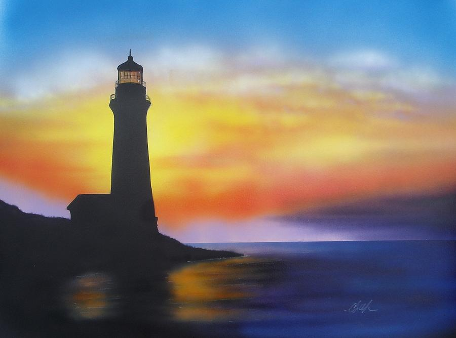 Lighthouse At Sunset Painting By Chris Fraser
