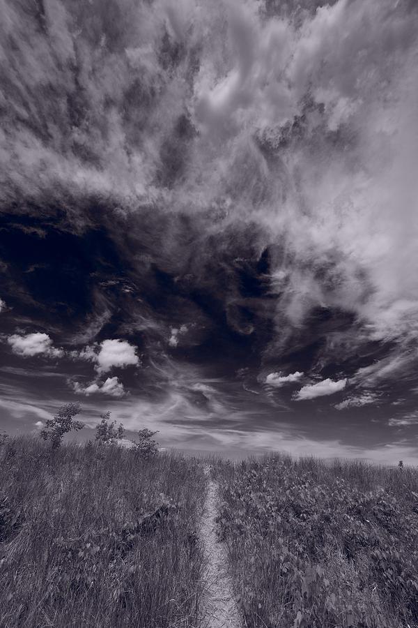 Sky Photograph - Lighthouse Beach Dunes Bw by Steve Gadomski